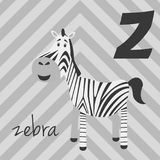Cute cartoon zoo illustrated alphabet with funny animals: Z for Zebra. Stock Photo