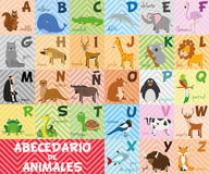 Cute cartoon zoo illustrated spanish alphabet with funny animals Stock Photos