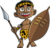 Cute cartoon zulu warrior Stock Image
