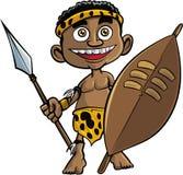 Cute cartoon zulu warrior. Isolated on white Stock Image