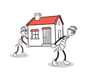 Cute cartoons carrying a house Stock Photo