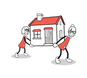 Cute cartoons carrying a house Royalty Free Stock Photo