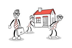 Cute cartoons carrying a house Royalty Free Stock Photography