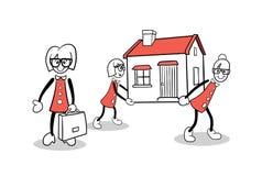 Cute cartoons carrying a house Stock Photos