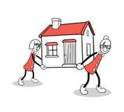 Cute cartoons carrying a house Royalty Free Stock Photos