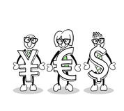 Cute cartoons holding currency symbols Stock Photos