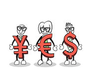 Cute cartoons holding currency symbols Royalty Free Stock Photography
