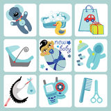 Cute cartoons icons for Asian baby boy.Newborn set. A set of cute cartoon elements for Asian newborn baby boy. Baby cartoon icons,scrapbooking elements .Vector Stock Images