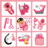 Cute cartoons icons for Asian baby girl.Newborn se Royalty Free Stock Photos