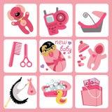 Cute cartoons icons for Asian baby girl.Newborn se. A set of cute cartoon elements for Asian newborn baby girl. Baby cartoon icons,scrapbooking elements .Vector Royalty Free Stock Photos