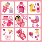 Cute cartoons icons for Asian newborn baby girl. A set of cute cartoon elements for Asian newborn baby girl. Baby cartoon icons,scrapbooking elements in Strips Royalty Free Stock Photography