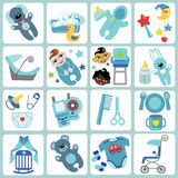 Cute cartoons icons for baby boy.Baby care set. A set of cute cartoon icons for newborn baby boy. Baby cartoon items,scrapbooking elements.Vector illustration Stock Images