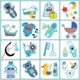 Cute cartoons icons for baby boy.Newborn set. A set of cute cartoon icons for newborn baby boy. Baby cartoon items,scrapbooking elements .Vector illustration Royalty Free Stock Image