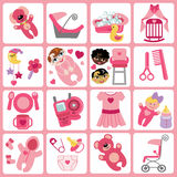 Cute cartoons icons for baby girl.Baby care set. A set of cute cartoon icons for newborn baby girl. Baby cartoon items,scrapbooking elements.Vector illustration Stock Image