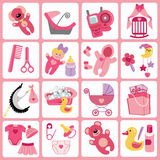 Cute cartoons icons for baby girl.Newborn set. A set of cute cartoon icons for newborn baby girl. Baby cartoon items,scrapbooking elements .Vector illustration Royalty Free Stock Photos