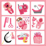 Cute cartoons icons for European baby girl.Newborn. A set of cute cartoon elements for European newborn baby girl. Baby cartoon icons,scrapbooking elements Royalty Free Stock Image