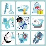 Cute cartoons icons for mulatto baby boy.Newborn s. A set of cute cartoon elements for mulatto newborn baby boy. Baby cartoon icons,scrapbooking elements .Vector Royalty Free Stock Photo
