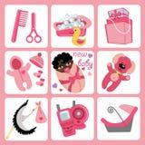 Cute cartoons icons for mulatto baby girl.Newborn. A set of cute cartoon elements for mulatto newborn baby girl. Baby cartoon icons,scrapbooking elements Royalty Free Stock Photos