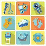 Cute cartoons icons for newborn baby boy Royalty Free Stock Photos