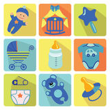 Cute cartoons icons  for newborn baby boy Royalty Free Stock Image