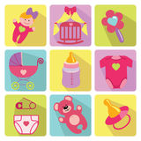 Cute cartoons icons for newborn baby girl Stock Image