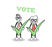 Cute cartoons showing green voting ticks Royalty Free Stock Photos