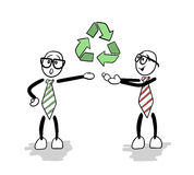 Cute cartoons showing recycling sign Royalty Free Stock Photo