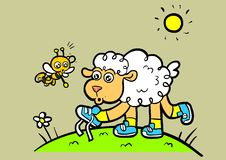 Lamb and Bee wearing shoes. Cute cartoony character of little lamb wearing shoes and his best friend bee pointing to his untied shoelaces royalty free illustration