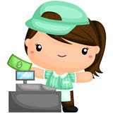 Cute Cashier. A vector of cashier and cash register Royalty Free Stock Photography