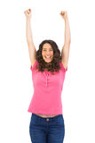 Cute casual brunette cheering Royalty Free Stock Photos