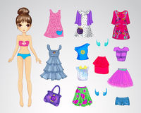 Cute Casual Paper Doll. Vector illustration of cute paper doll and set of casual clothes Stock Images