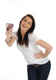 Cute Casual woman taking photo on a digital camera Royalty Free Stock Image
