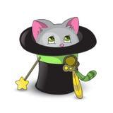 Cute cat. Inside magic hat Stock Photo