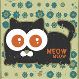 Cute cat. A card with cute cat stock illustration