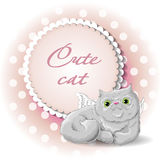 Cute cat angel. Illustration of a cute cat angel vector Stock Photography