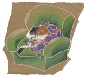 Cute cat on the armchair. Cute cat playing with a wool sweater on a big armchair. Pencil art hand drawn for little children, on torn brown wrapping paper. Paper stock illustration
