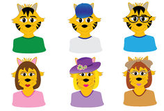 Cute cat avatars Stock Image