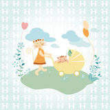 Cute cat and baby background Royalty Free Stock Photos