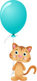 Cute cat with balloon. Scalable vectorial image representing a cute cat with balloon,  on white Stock Photo