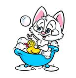 Cute cat bathing bathroom Royalty Free Stock Image