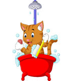 Cute Cat bathing time vector illustration