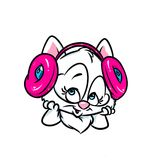 Cute cat beautiful loves music headphones Stock Photography