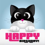 Cute cat with big eyes holding a happy birthday card Stock Images