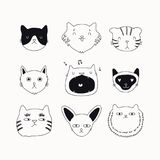 Cute cat black and white doodles set royalty free illustration