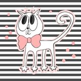 Cute cat with bow on striped background vector illustration Stock Image