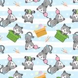 Cute cat in box vector seamless pattern vector illustration