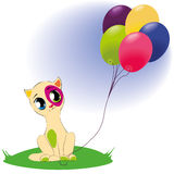 Cute cat with bunch of balloons Royalty Free Stock Photography