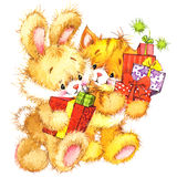 Cute cat and bunny. Watercolor funny cat and Christmas background Royalty Free Stock Photos