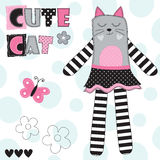 Cute cat with butterfly vector illustration Stock Image