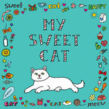 Cute cat card Royalty Free Stock Images